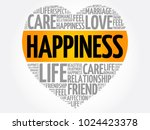 happiness word cloud collage ... | Shutterstock .eps vector #1024423378
