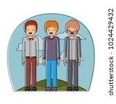 group of elegant men in the... | Shutterstock .eps vector #1024429432