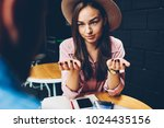 attractive hipster girl in... | Shutterstock . vector #1024435156