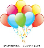 nine 9 balloons color balloon... | Shutterstock .eps vector #1024441195