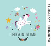 cute unicorn greeting card.... | Shutterstock .eps vector #1024448458
