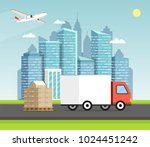 delivery van with shadow and... | Shutterstock .eps vector #1024451242