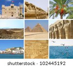 Small photo of Egypt travel collage with nine photos of Giza, Alexandria, Red sea, El-Guna, Sahara, Lu-xor