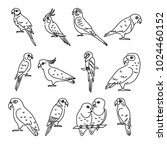 collection of parrot icons in... | Shutterstock .eps vector #1024460152