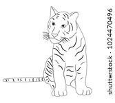 isolated sketch of a tiger... | Shutterstock . vector #1024470496