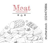 vector background with meat... | Shutterstock .eps vector #1024470886