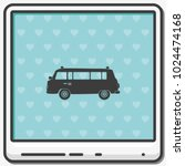retro travel van flat vector... | Shutterstock .eps vector #1024474168