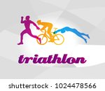 color flat logo triathlon.... | Shutterstock .eps vector #1024478566