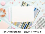 flat lay with sketchbook  and... | Shutterstock . vector #1024479415