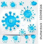 water splashes stickers set. | Shutterstock .eps vector #102448166