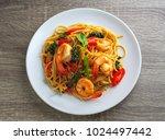spaghetti stir fried spicy... | Shutterstock . vector #1024497442