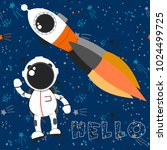 space background with astronaut ... | Shutterstock .eps vector #1024499725