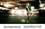 kid   soccer player. boy... | Shutterstock . vector #1024501735