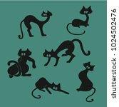graceful black cats. | Shutterstock .eps vector #1024502476