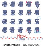"""meow sticker"" set. vector... | Shutterstock .eps vector #1024509928"