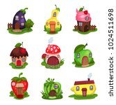 set of fantasy houses in form... | Shutterstock .eps vector #1024511698