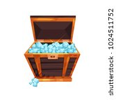 old open chest full of precious ... | Shutterstock .eps vector #1024511752