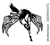 winged horse black and white... | Shutterstock .eps vector #1024514272