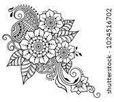 henna tattoo flower template in ... | Shutterstock .eps vector #1024516702