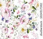 Stock photo seamless pattern with spring flowers and leaves hand drawn background floral pattern for 1024517332