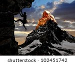 climbers in the swiss alps | Shutterstock . vector #102451742