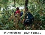 people with big backpacks... | Shutterstock . vector #1024518682