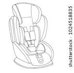 sketch of a children's car seat.... | Shutterstock .eps vector #1024518835