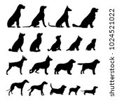 set of black dogs icon | Shutterstock .eps vector #1024521022