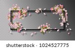 Stock vector abstract frame with spring flowers vector background with spring cherry blossom falling petals 1024527775