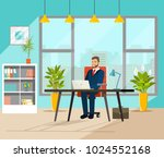 business man working at her... | Shutterstock .eps vector #1024552168