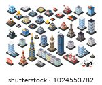 isometric projection of 3d... | Shutterstock .eps vector #1024553782