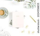 flatlay of home office desk... | Shutterstock . vector #1024558855