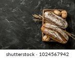 bakery   gold rustic crusty...   Shutterstock . vector #1024567942