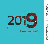 happy new year 2018 vector... | Shutterstock .eps vector #1024575592