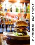 fancy burger and restaurant in... | Shutterstock . vector #1024575985