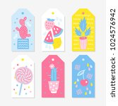 six summer gift tags with... | Shutterstock .eps vector #1024576942