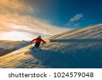 skiing with amazing view of... | Shutterstock . vector #1024579048