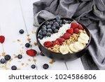 breakfast buddha bowl filled... | Shutterstock . vector #1024586806
