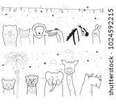 animal cartoon set isolated on... | Shutterstock .eps vector #1024592215