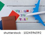 travel time   colorful wooden... | Shutterstock . vector #1024596592