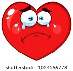 crying red heart cartoon emoji... | Shutterstock .eps vector #1024596778