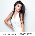 beautiful young woman with long ... | Shutterstock . vector #1024599976