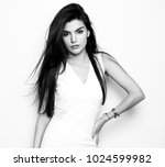 beautiful young woman with long ... | Shutterstock . vector #1024599982