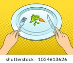 healthy food on plate pop art... | Shutterstock .eps vector #1024613626
