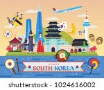 south korea famous tourist... | Shutterstock .eps vector #1024616002