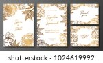 set of gold and white wedding... | Shutterstock .eps vector #1024619992