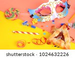 purim background with carnival... | Shutterstock . vector #1024632226