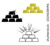 golden bars. pyramid icon. gold ... | Shutterstock .eps vector #1024638496