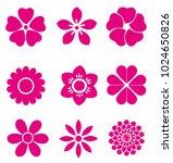 Stock vector set of vectorized flowers 1024650826