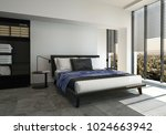 bed in modern spacious bright... | Shutterstock . vector #1024663942